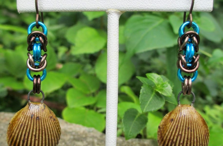 earthy-seashell-chainmaille-earrings-2