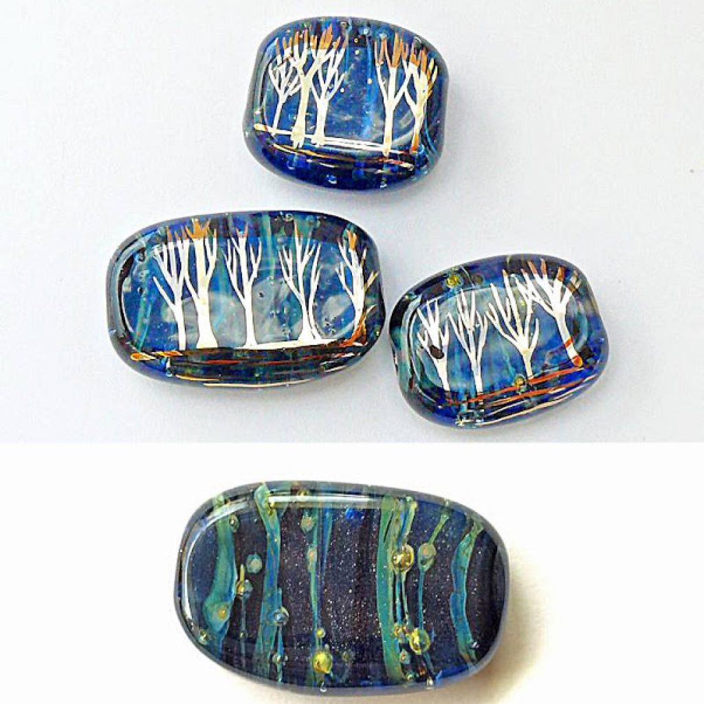 firefly lightning bugs lampwork glass beads caroline dewison art jewelry elements blog